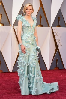 Best Actress nominee in a Armani Privé seafoam green gown that featured hand sewn Swarovski crystals and white feathers, Giuseppe Zanotti heels, a Roger Vivier clutch, and jewelry by Tiffany & Co.